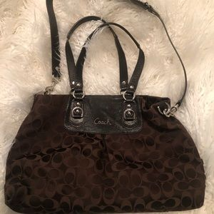 Brown coach bag and wallet
